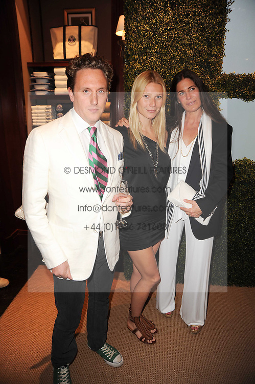 Left to right, HARRY BEECHER, GWYNETH PALTROW and ELIZABETH SALTZMAN at the Ralph Lauren Wimbledon Party held at Ralph Lauren, 1 New Bond Street, London on 17th June 2010.