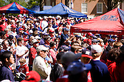 OXFORD, MS - APRIL 12:   Ole Miss fans in the Grove on the campus of the University of Mississippi on April 12, 2008 in Oxford, Mississippi.  (Photo by Wesley Hitt/Getty Images) *** Local Caption ***