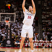 22 December 2018: San Diego State Aztecs guard Jordan Schakel (20) makes an open three point shot in the second half. The Aztecs beat the Cougars 90-81 Satruday afternoon at Viejas Arena.