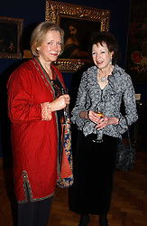 Left to right,MRS MARTIN BUTLIN and JANE, LADY ABDY at a reception hosted by Brian Ivory Chairman of the Trustees of The National Galleries of Scotland to commemorate Sir Timothy Clifford's 21 years of Director of the National Gallery of Scotland and his forthcoming retirement in January 2006, held at Christie's, King Street, London W1 on 6th December 2005.<br />