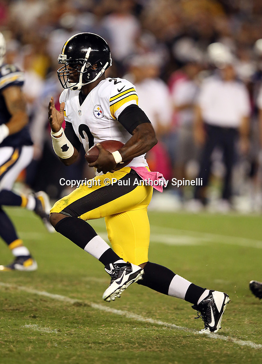 Pittsburgh Steelers quarterback Mike Vick (2) runs for a gain of 24 yards and a first down at the San Diego Chargers 17 yard line with 17 seconds left during the 2015 NFL week 5 regular season football game against the San Diego Chargers on Monday, Oct. 12, 2015 in San Diego. The Steelers won the game 24-20. (©Paul Anthony Spinelli)