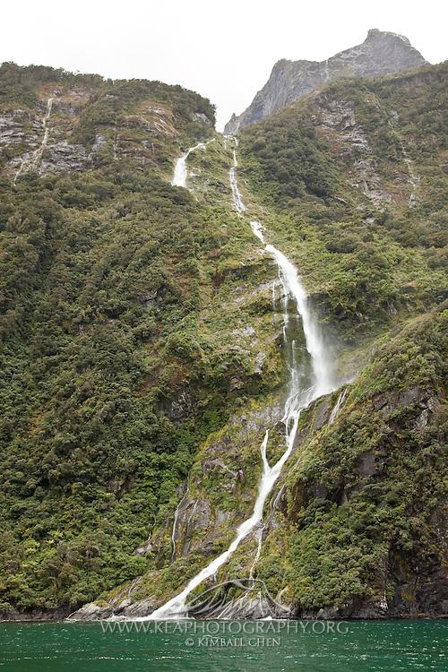 Milford Sound, waterfall, New Zealand