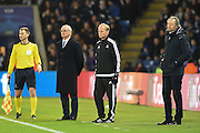 Leicester City manager Claudio Ranieri  and Club Brugge head coach Michel Preud'homme during the Champions League match between Leicester City and Club Brugge at the King Power Stadium, Leicester, England on 22 November 2016. Photo by Jon Hobley.