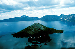OR:  Oregon; Crater Lake National Park, scenic landscape, Wizard Island          .Photo Copyright Lee Foster, lee@fostertravel.com, www.fostertravel.com, (510) 549-2202.Image orcrat213