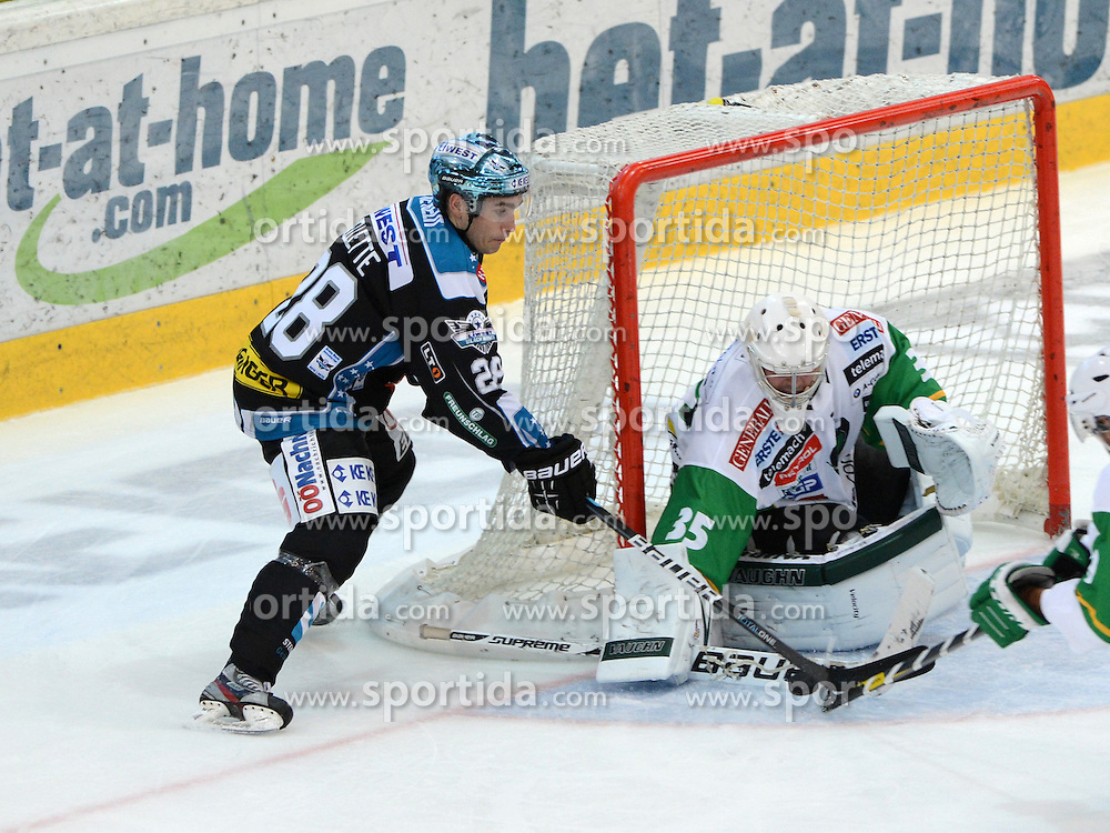 09.09.2012, Keine Sorgen Eisarena, Linz, AUT, EBEL, EHC Liwest Black Wings Linz vs HDD Telemach Olimpija Ljubljana, 2. Runde, im Bild Mike Ouellette (EHC Liwest Black Wings Linz, #28) und Jerry Kuhn (HDD Telemach Olimpija Ljubljana, #35) during the Erste Bank Icehockey League 2nd Round match between EHC Black Wings Linz and HDD Telemach Olimpija Ljubljana at the Keine Sorgen Icearena, Linz, Austria on 2012/09/09. EXPA Pictures © 2012, PhotoCredit: EXPA/ Reinhard Eisenbauer