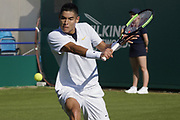 Kwiatkowski (USA) Vs Sandgren (USA) Action at the Nature Valley International Eastbourne 2019 at Devonshire Park, Eastbourne, United Kingdom on 22 June 2019. Picture by Jonathan Dunville