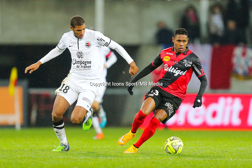 Christophe MANDANNE / Jordan ADEOTTI  - 03.12.2014 - Guingamp / Caen - 16eme journee de Ligue 1 <br /> Photo : Vincent Michel / Icon Sport