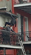"EXCLUSIVE<br /> Tom Cruise, hanging from a wire, practising a stunt while filimng ""Jack Reacher"" from a balcony at Chateau Hotel, New Orleans.<br /> ©Exclusivepix Media"