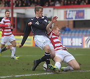 Ziggy Gordon denies Jim McAlister - Dundee v Hamilton, SPFL Championship at <br />