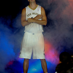 Aug 1, 2013; Metairie, LA, USA; New Orleans Pelicans center Jason Smith during a uniform unveiling at the team practice facility. Mandatory Credit: Derick E. Hingle-USA TODAY Sports