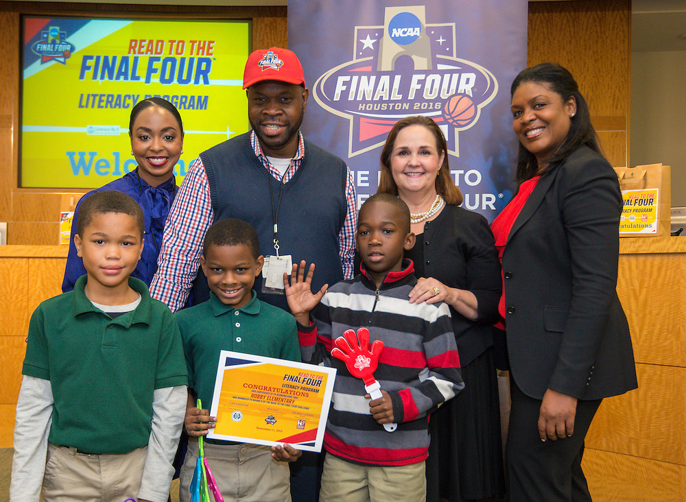 Hobby Elementary School is recognized during the reveal of the 32 finalists in the Houston ISD NCAA Read to the Final Four, November 11, 2015.