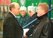 Twickenham, GREAT BRITAIN. Director of Rugby, Quins John Gallagher chats with london Irish's Dick Best [left] before the Zurich Premiership Match, London Irish vs Harlequins played at the Stoop, England. [Mandatory Credit: Peter Spurrier: Intersport Images]