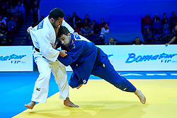 Warsaw, Poland - 2017 April 20: Adrian Gomboc from Slovenia (blue) throws Nijat Shikhalizada from Azerbaijan (white) while the men&iacute;s 66kg semifinal during European Judo Championships 2017 at Torwar Hall on April 20, 2017 in Warsaw, Poland.<br /> <br /> Mandatory credit:<br /> Photo by &copy; Adam Nurkiewicz / Mediasport / Sportida <br /> <br /> Adam Nurkiewicz declares that he has no rights to the image of people at the photographs of his authorship.<br /> <br /> Picture also available in RAW (NEF) or TIFF format on special request.<br /> <br /> Any editorial, commercial or promotional use requires written permission from the author of image.