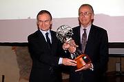 Bologna - 11/02/2007 -  Italia Basket Hall of Fame at Cappella Farnese in Palazzo D'Accursio CONI's President mr. Gianni Petrucci arwarding Sandro Riminucci