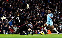 Raheem Sterling of Manchester City takes on Thomas Heaton of Burnley - Mandatory by-line: Matt McNulty/JMP - 02/01/2017 - FOOTBALL - Etihad Stadium - Manchester, England - Manchester City v Burnley - Premier League