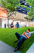 Park with artificial grass and trees inside the convention center during Art Basel 2012