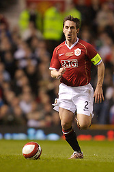 Manchester, England - Tuesday, March 13, 2007: Manchester United's captain Gary Neville in action against Europe XI during the UEFA Celebration Match at Old Trafford. (Pic by David Rawcliffe/Propaganda)