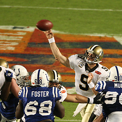 2010 February 07: New Orleans Saints quarterback Drew Brees (9) throws a pass during a 31-17 win by the New Orleans Saints over the Indianapolis Colts in Super Bowl XLIV at Sun Life Stadium in Miami, Florida.