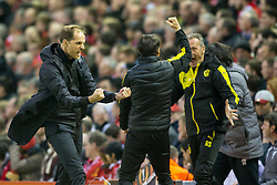 14.04.2016, Anfield Road, Liverpool, ENG, UEFA EL, FC Liverpool vs Borussia Dortmund, Viertelfinale, Rueckspiel, im Bild Trainer Thomas Tuchel (Borussia Dortmund) beim Torjubel nach dem Treffer zum 2:0 // during the UEFA Europa League Quaterfinal, 2nd Leg match between FC Liverpool vs Borussia Dortmund at the Anfield Road in Liverpool, Great Britain on 2016/04/14. EXPA Pictures &copy; 2016, PhotoCredit: EXPA/ Eibner-Pressefoto/ Schueler<br /> <br /> *****ATTENTION - OUT of GER*****
