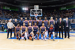 The Bristol Flyers team prior to tip off - Photo mandatory by-line: Ryan Hiscott/JMP - 26/01/2020 - BASKETBALL - Arena Birmingham - Birmingham, England - Bristol Flyers v Worcester Wolves - British Basketball League Cup Final