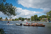 Walton, Great Britain,  Mixed Double at the start moving away from the Stake Boats, Walton Reach Regatta, Walton on Thames, Skiff and Punting Regatta  <br /> <br /> Saturday  19/08/2017<br /> <br /> [Mandatory Credit. Peter Spurrier/Intersport Images] River Thames .......... Summer, Sport, Sunny, Bright, Blue Skies, Skilful,
