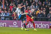Siem De Jong & Anthony Straker during the Pre-Season Friendly match between York City and Newcastle United at Bootham Crescent, York, England on 29 July 2015. Photo by Simon Davies.