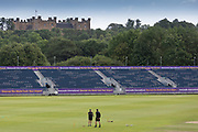 Lumley Castle in the background before Day 2 of the Specsavers County Champ Div 2 match between Durham County Cricket Club and Leicestershire County Cricket Club at the Emirates Durham ICG Ground, Chester-le-Street, United Kingdom on 19 August 2019.