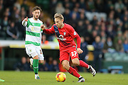 York City midfielder Danny Galbraith  during the Sky Bet League 2 match between Yeovil Town and York City at Huish Park, Yeovil, England on 2 January 2016. Photo by Simon Davies.