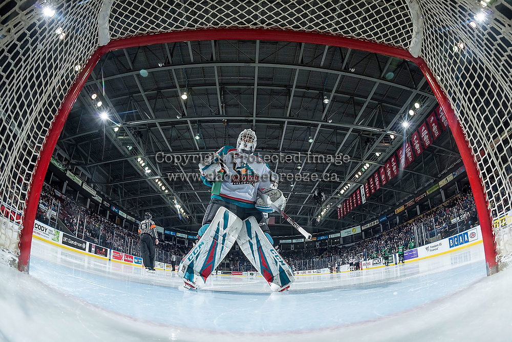 KELOWNA, CANADA - JANUARY 19:  Roman Basran #30 of the Kelowna Rockets skates to the net for second period against the Prince Albert Raiders on January 19, 2019 at Prospera Place in Kelowna, British Columbia, Canada.  (Photo by Marissa Baecker/Shoot the Breeze)