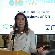 World Trade Center, Seattle Immersed: The Business of XR. WTC Director Emily Cantrell. Photo by Alabastro Photography.