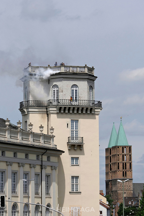 Kassel, Germany. Opening days of documenta14.<br /> Zwehrenturm.<br /> Daniel Knorr: Expiration Movement, 2017