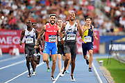 Brandon McBride (CAN) defeats Wesley Vazquez (PUR) to win the 800m, 1:43.78 to 1;43.83, during the Meeting de Paris, Saturday, Aug. 24, 2019, in Paris. (Jiro Mochizuki/Image of Sport via AP)