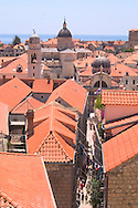 An aerial view of the terracotta rooftops<br /> of Dubrovnik old town, Croatia<br /> c. Ellen Rooney