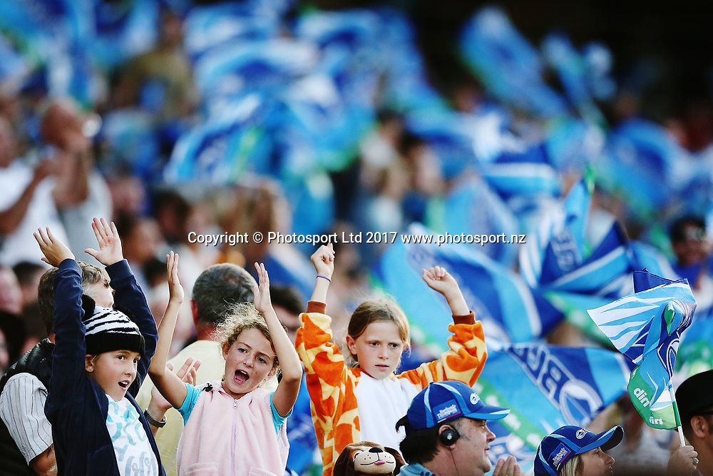 Blues fans. Super Rugby match, Blues v Force at Eden Park, Auckland, New Zealand. 1 April 2017 © Copyright Photo: Anthony Au-Yeung / www.photosport.nz