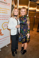 Left to right, VICTORIA MILLIGAN who lost her husband, daughter and a leg in a speedboat accident and GINA LEVETT at a ladies lunch in aid of the charity Child Bereavement UK held at The Bulgari Hotel, 171 Knightsbridge, London on 25th February 2016.