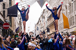 January 1, 2018 - London, London, UK - Cheerleaders perform in London's New Year's Day Parade on 1 January 2017 in central London. The event is one of the world's great street spectaculars with up to 10,000 performers from around the world and hosts marching bands, cheerleaders, leading companies, unions and local boroughs celebrating the arrival of 2017.London, UK. (Credit Image: © Ray Tang/London News Pictures via ZUMA Wire)