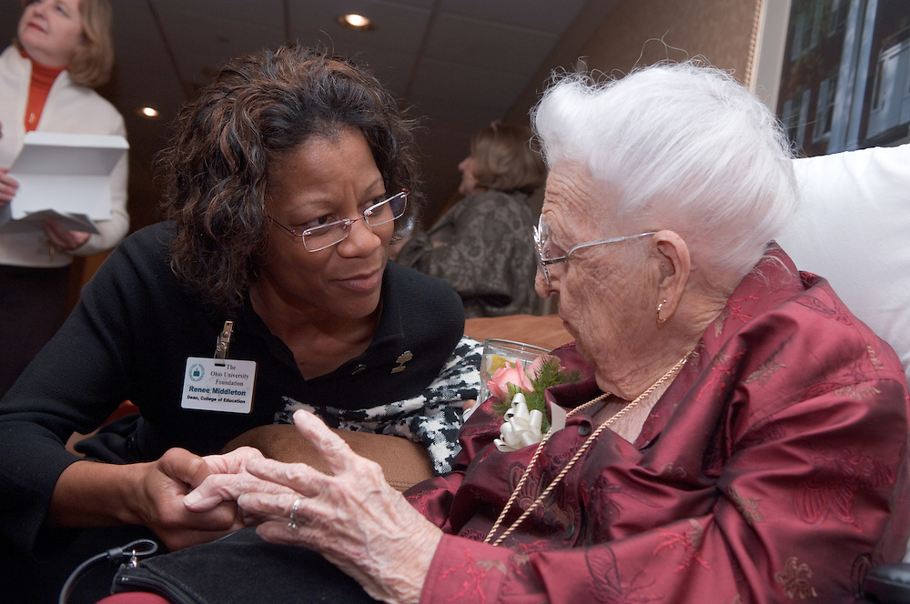 17934Ohio Women in Philanthropy present The Leona Hughes Inspiration Award to Leona Hughes at the Ohio University Inn on 11/02/06..Welcome.Frank P. Krasovec(BBA '65,MBA'66) Chair, The Ohio University Foundation Board of Trustees..Master of Ceremonies..Barbara Storm Thompson(AB'76).Chair,Women in Philanthropy Initiative..Roderick J. McDavis(BSED'70).President, Ohio University..Robert (BSCOM'57,DHON'62)and Jean(HON'88) Axline..Charles J. Ping(LHD'94).President Emeritus,Ohio University..Abby L. Jones(BS'07).Leona and Lewis Hughes-Manasseh Cutler Scholar..Presentation of the Leona Hughes Inspiration Award to Leona H. Hughes(BSEd'30,DH'01)