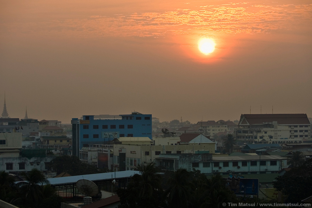 Skyline at dawn, Phnom Penh, Cambodia.