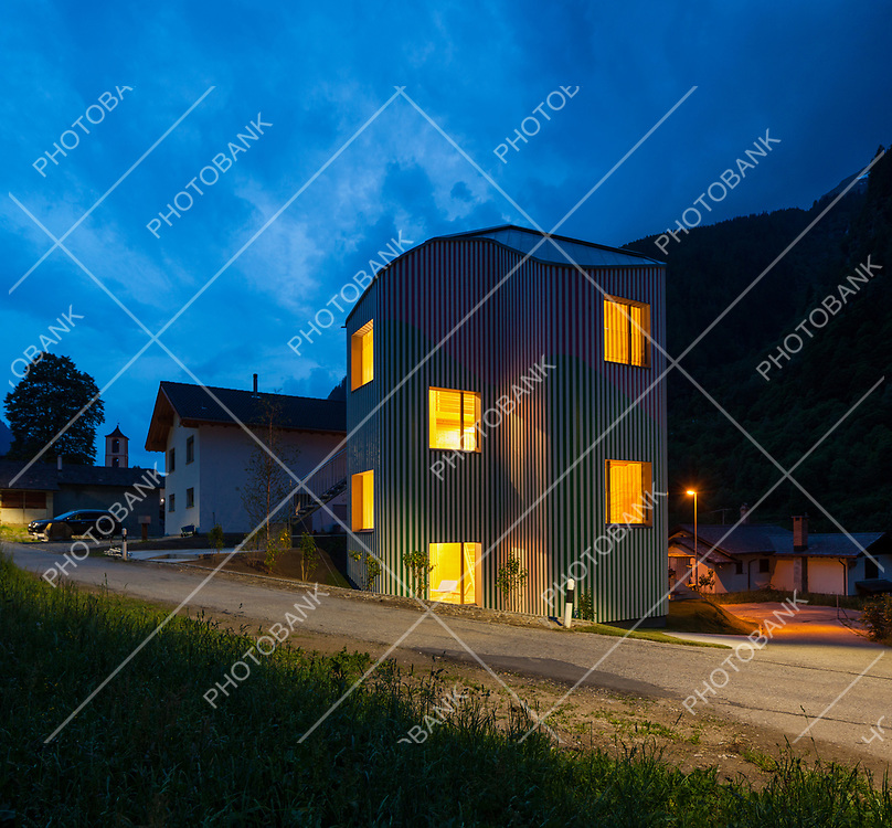 Exteriors of modern house in the evening