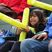 March 1, 2014, Palm Springs, California: <br /> A girl laughs during Kids Day at the Indian Wells Tennis Garden sponsored by the Coachella Valley National Junior Tennis and Learning Network.<br /> (Photo by Billie Weiss/BNP Paribas Open)