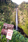 A warning sign at Akaka Falls on the Big Island of Hawaii.