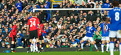 LIVERPOOL, ENGLAND - Saturday, February 20, 2010: Manchester United's Dimitar Berbatov scores the opening goal against Everton during the Premiership match at Goodison Park. (Photo by: David Rawcliffe/Propaganda)