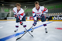 David and his brother Marcel Rodman during first practice session of Slovenian National Ice Hockey team in Arena Stozice before 2012 IIHF World Championship DIV I Group A in Slovenia, on April 13, 2012, in Arena Stozice, Ljubljana, Slovenia. (Photo by Vid Ponikvar / Sportida.com)