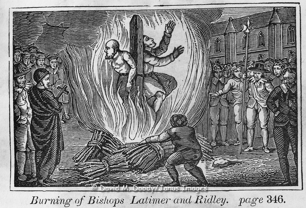 """Burning to death of Latimer and Ridley. Protestant vs Catholic violence. Vintage Woodcut Illustration from: """"Book of Martyrs"""" Tortures carried out in the name of religion."""
