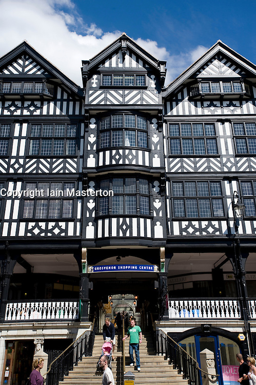 External view of modern shopping centre inside historic timbered building in central Chester in Cheshire England 2008