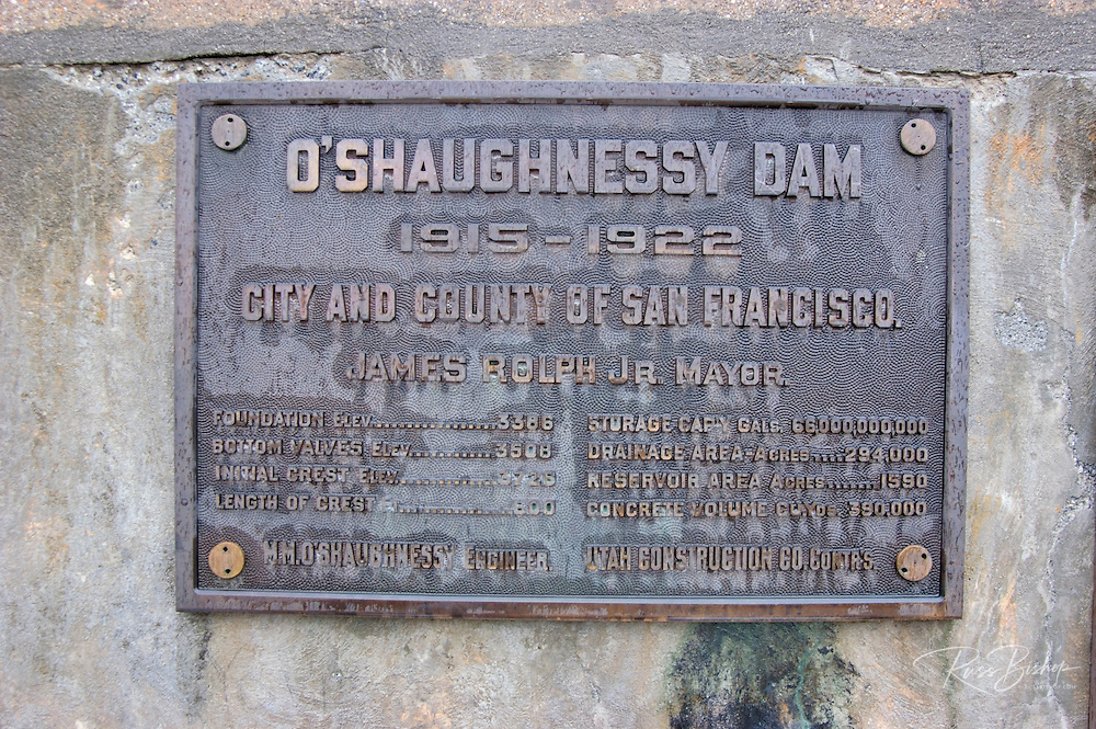 Plaque on the O'Shaughnessy Dam at Hetch Hetchy, Yosemite National Park, California