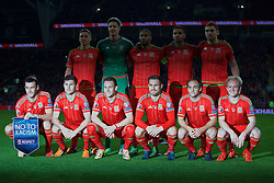 CARDIFF, WALES - Tuesday, October 13, 2015: Wales' players line up for a team group photograph before the UEFA Euro 2016 qualifying Group B match against Andorra at the Cardiff City Stadium. Back row L-R: James Chester, goalkeeper Wayne Hennessey, captain Ashley Williams, Hal Robson-Kanu, Sam Vokes. Front row L-R: Gareth Bale, Ben Davies, Chris Gunter, Aaron Ramsey, David Vaughan, Jonathan Williams. (Pic by Barry Coombs/Propaganda)