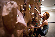 Climbing Wall leader Ruth Campbell '11 practices on the Bear Recreation Center bouldering wall on Wednesday afternoon.