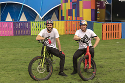 Danny MacAskill & Duncan Shaw performed bike tricks ahead of the opening of their Drop And Roll Live Fringe show.<br /> 2nd August 2019