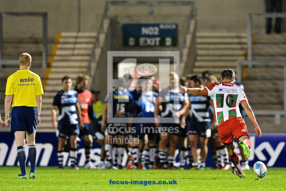 Picture by Ian Wadkins/Focus Images Ltd +44 7877 568959<br /> 10/10/2013<br /> Julien Peyrelongue of Biarritz Olympique scores a conversion during the Amlin Challenge Cup match at AJ Bell Stadium, Eccles.
